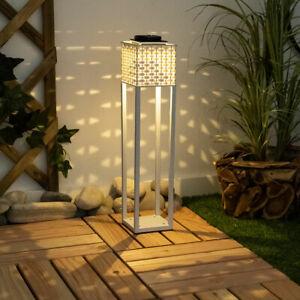 LED Solar Außen Leuchte Steck Lampe weiß Rattan Optik Garten Terrassen Erdspieß