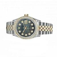 Rolex 36mm Datejust Black Mother Of Pearl Dial with Round Diamond Numbers Quick-