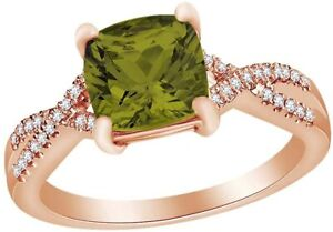 Marquise Simulated Peridot W/ Simulated Diamond Infinity Shank  Ring in  Silver