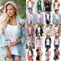 Womens Floral Shawl Kimono Cardigans Beach Cover Up Blouse Beachwear Coat Tops
