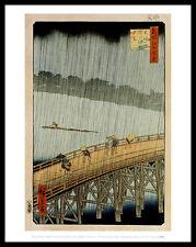 Utagawa Hiroshige a sudden shower poster image Art pression dans le cadre alu 36x28cm