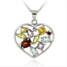925 Silver Multi Gemstone & Diamond Accent Heart Pendant, 18""