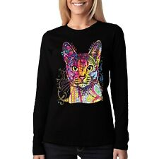 Velocitee Damen Langarm T-Shirt Psychedelic CAT KITTY FELINE a18489 schwarz