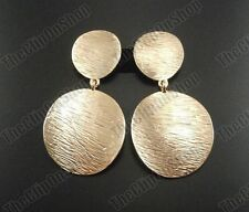 CLIP ON EARRINGS drop TEXTURED GOLD TONE vintage retro big chunky circle tribal