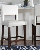 Modern Counter Height Stool Upholstered Solid Wood Kitchen Dining Chair White