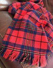 "Pendleton 100% Wool Plaid Stadium Blanket Red/Blue/Black/Yellow EUC 58X50"""