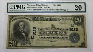 $20 1902 National City Illinois National Currency Bank Note Bill 9118 Stock Yard