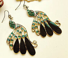 Vintage Peacock Feather Sideway Design with Stones Earrings for Women Bronze