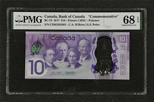 "2017 Canada Bank of Canada ""Commemorative"" BC-75 10 Dollars PMG 68 EPQ Gem UNC"