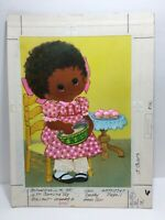 Vtg 75 Norcross Fathers Day Card Child Girl Bake Cupcakes Original Artwork Proof