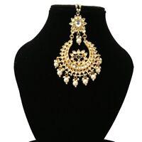 Pearls Bridal Wedding Designer Kundan Maang Tikka Bollywood Look Handmade Style