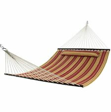 Hammock Double Size Quilted Fabric, Pillow, Outdoor Wood Spreader Bar, Backyard
