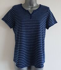 Size 12 Top CROFT & BARROW Blue Striped Casual Fitted Great Condition Women's