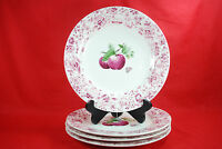 "Pfaltzgraff DELICIOUS Dinner Plates 11"" (Set of 4) Apples, Red, Pink, Floral"
