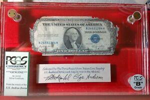 """S.S. Andrea Doria Shipwreck Note PCGS Certified $1 1935E """"B"""" Grade Silver Cert."""