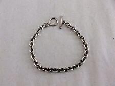 """Sterling Silver Link Bracelet, Toggle Clasp, 13.5g, 7.5""""L, stamped 925 VD"""