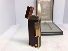 Auth DUNHILL D-Logo K18 Gold-Plated Lacquer Lighter Bordeaux / Gold w Case