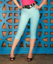 NWT Deadly Dames Capris Pants Light Blue Extra Large XL