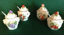 4 Lenox Orchard Fine Porcelain Jam Jelly Marmalade Jars, 3 W/Spoons '91 Retired!