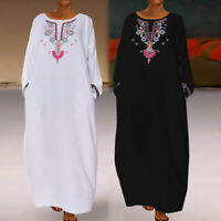 Women Floral Long Sleeve Maxi Dress Ladies Casual Evening Party Kaftan Size 8-26