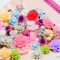 50Pcs Assorted Resin Rose Flower Flatback Cabochons DIY Phones Case Decor