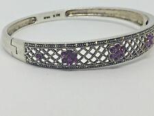 "Vtg~Sterling-Silver-925-Marcasite-Filigree-Hinged-Bangle-Bracelet- 8""/ 20g. #783"