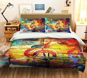 3D Musical Notes RAII337 Bed Pillowcases Quilt Duvet Cover Queen King Honey