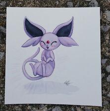 pokemon watercolor painting Cute Eevelution Espeon Psychic Cat Dog gen 2