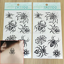 2 Sheet Temporary Tattoo Black Spider Fake Tatoo Sticker Body Art Waterproof