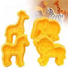 Cool Lion Giraffe Zebra Elephant Animal Fondant Cake Mold Cookie Plunger Cutter