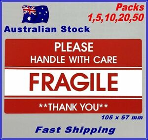 FRAGILE HANDLE WITH CARE Self Adhesive Label 105 x 57mm - Red Warning Sticker