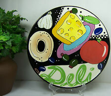 Hand Painted Bagel Cheese Tomato Olive Bread Appetizer FOOTED DELI PLATE 10-1/4""