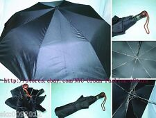 "High Quality Unisex Automatic Opening 44"" Black Casual Umbrella w. Wooden Handle"