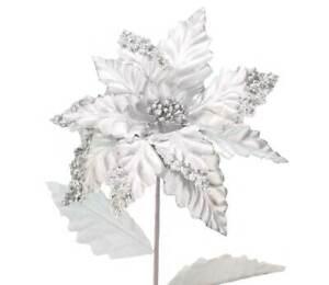 Metallic Silver Sequinned Christmas Poinsettia - 57cm