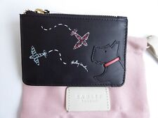 Radley Plane Spotting Black Zip Coin Purse - Credit Card Holder BNWT RRP £35