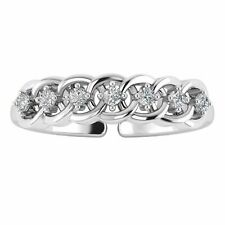 Toe Ring 14K White Gold Over 0.07 Ct Diamond Intertwined Adjustable Women's