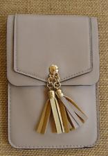 TAN Crossbody Cell Phone Bag w/ Tassles & Rear Window, Detachable Strap