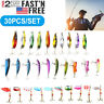Lot 30 pcs Kinds of Fish Fishing Lures Crankbaits Hooks Minnow Baits Tackle USA