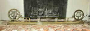 Antique Art Nouveau Brass Fireplace Fender With Harps Hearth Guard 52""