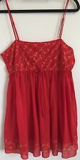 Victoria's Secret RED & GOLD TRIM Sheer Chemise Lingerie Negligee piccole