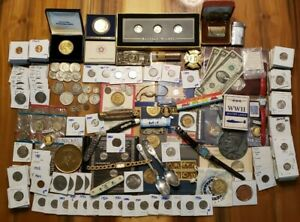 HUGE COIN LOT SILVER+ COINS, sterling watches NOTES MORGANS AND MORE estate lot