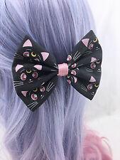 Sailor Moon Black Luna Cat Medium Fabric Hair Bow with Clip