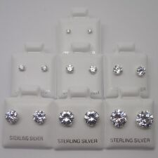 925 Sterling Silver Clear Round Cubic Zirconia CZ Diamante Stud Earrings 2-8mm