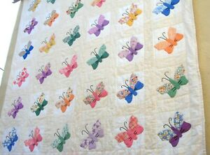 Vtg 30's 40's Butterfly Quilt Hand stitched Pastel