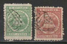 BRITISH GUIANA 1863 SHIP 24C AND 48C PERF 10 USED