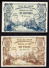 billets de nécessité - Ville de Rouen - Emission de 1922 - 50 centimes et 1 F