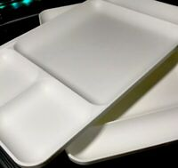 """Tupperware New Vintage White Divided Serving Trays #1535, """"Set Of Two*"""