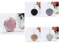 Women's Small Round Shape Glittery Sparkling Evening Wedding Party Clutch Bag