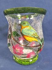 Green Bird Votive Candle Holder Hand Painted Crackle Glass Home Decor (B)