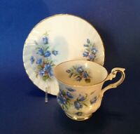 Rosina Pedestal Teacup And Saucer - Bluebells - July - Bone China - England